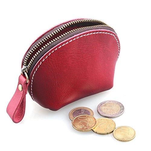 AYOUYA Borsellino Borsetta Pelle Portamonete di Stile Classico Mini Portafoglio in Cuoio con Cerniera Marrone Rosso