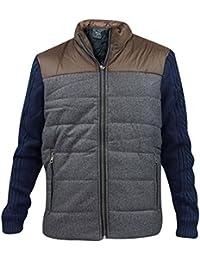 Nouveaux hommes manteau rembourré câble tricot acrylique manches hiver doublé Zip Veste Blouson