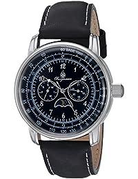 Burgmeister Reloj de cuarzo de hombre con esfera analógica de color negro y piel de color negro pulsera bm335 – 122