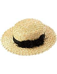 2e0b4f7dda811 Sombrero de Paja Plano de Verano Sombrero de Copa de Plumas Flor de Encaje  Turista Sombra