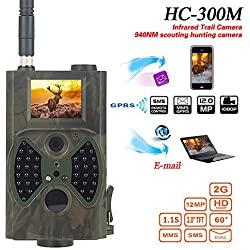 3G 12MP HD lleno Trailcamera HC-300M Negro desencadenar 0,5 seg cámara de vigilancia cámara trampa Caza Ángulo de visión 120° Soporta 3G / 2G GSM / MMC / SMTP / SMS