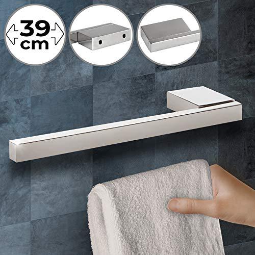 Handtuchhalter - 1er oder 2er Set, für Wand- und Schrankmontage, Edelstahl mit polierter Oberfläche, silber - Handtuchstange, Handtuchhaken, Handtücher Wandhalterung, Wandhandtuchhalter