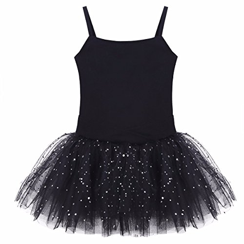 iiniim Girls Camisole Sequins Skirted Ballet Dance Dress Tutu Leotard Layered Skirt Gymnastics Costume