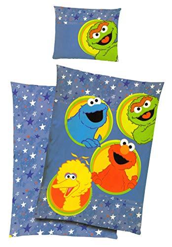 Tex idea Sesamstraße Kinder-Bettwäsche-Set Freunde 140x200cm,Kissen 70x90cm 100% Baumwolle,Ernie-Bert Samson Krümelmonster Elmo Grobi Kermit Rumpel Miss-Piggy