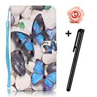 Samsung Galaxy S7 case,Samsung S7 wallet case,,Flip Leather case for Samsung Galaxy S7,TOYYM 3D Blue Butterfly Patterned PU Leather Wallet Case Cover Pouch [Magnetic Closure] with Card Slots for Samsung Galaxy S7,Kickstand,Credit Card Holder,Book Style Flip Wallet with Flower Dust Plug & Stylus