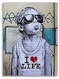 Kunstbruder, Druck auf leinwand Banksy Graffiti - Bild I Love My Life Bild fertig auf Keilrahmen Kunstdrucke, Wandbilder, Bilder zur Dekoration - direkt vom (50x70 cm)