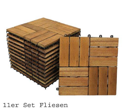 SAM Terrassenfliese 02 aus Akazien-Holz, FSC 100 % zertifiziert, 11er Spar-Set für 1 m², Garten-Fliese in 30 x 30 cm, Bodenbelag mit Drainage, Klick-Fliesen für Garten Terrasse Balkon