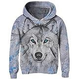 Funnycokid Teen Unisex Fleece Pullover Mädchen Pullover Chritmas Schnee Wolf Jumper Hooded 3D Print Sweatshirts