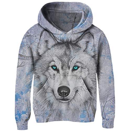 Funnycokid Funny Youth Pullover Langarm 3D Print Schnee Wolf Sweatshirts Fleece Mit Kapuze Pullover Pullover  , Wolf 2 - XXL  (10-13T) Youth-fleece-sweatshirt