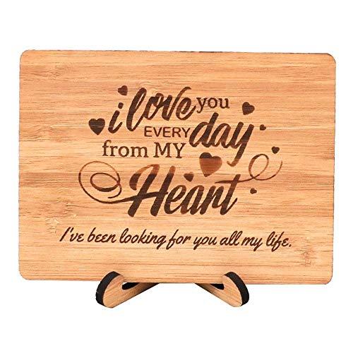Zuaart Love Grußkarte, handgefertigt mit echtem Bambusholz und Ständer, Love every day from my heart - perfect for love - Day Mom Valentines Happy