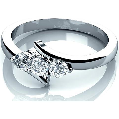 Nuovo 0.25ct diamante rotondo Anello di fidanzamento trilogy in oro bianco 9K, Oro bianco, 57 (0.25 Ct Anello Di Fidanzamento Anello Di Fidanzamento)