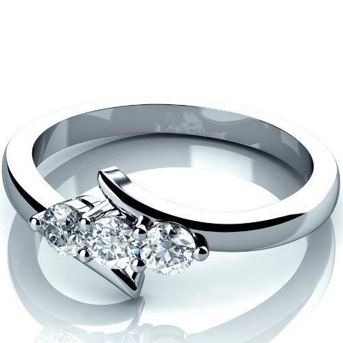 Nuovo 0,30carati Rotondo Diamante Anello Di Fidanzamento Trilogy in oro bianco 9K, oro bianco, 52 (16.6), cod. MSR0112.5