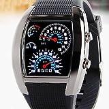 Relojes Hermosos, Hombre azul coche deportivo rpm&reloj de pulsera de velocidad llevado blanco ( Color : Negro )