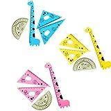 Fablcrew Set de Géométrie Plastique Kawaii Forme de Girafe Kit Règle Rapporteur Équerres pour Enfant étudiant 4Pcs