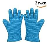 GYOYO 2 gants de cuisine en silicone, BBQ gants , gants de griller de silicone, barbecue gant, mitaine de four, Manique cuisson Four Gant Anti-Chaleur pour Four, Griller, Barbecue, Cuissine, Lave-Vaisselle (une paire, Bleu)