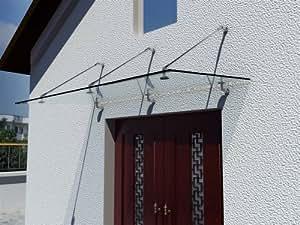 i-flair Glasvordach 200cm x 90cm, Vordach aus 13,14 mm starkem Verbundsicherheitsglas (VSG) mit hochwertigen V2A Edelstahlbeschlägen - ALLE GRÖßEN