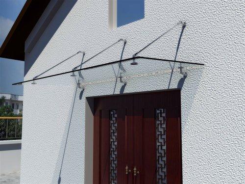 i-flair Glasvordach 200cm x 90cm, Vordach aus 13,14 mm starkem Verbundsicherheitsglas (VSG) mit...