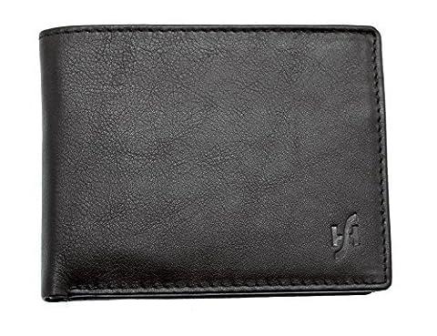 Starhide Mens Designer High Quality Luxury Soft Leather Trifold Wallet Purse - 115 (Black)