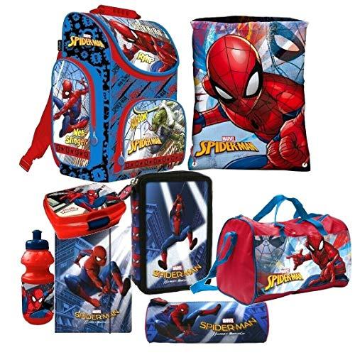 Spiderman 8 Teile Set Schulranzen Ranzen Sporttasche Federmappe Tornister Tasche mit Sticker von Kids4shop