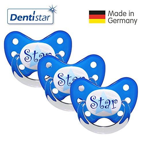 Dentistar Schnuller 3er Set- Nuckel Silikon in Größe 3, ab 14 Monate - zahnfreundlich & kiefergerecht - Beruhigungssauger für Babys - Blau Star