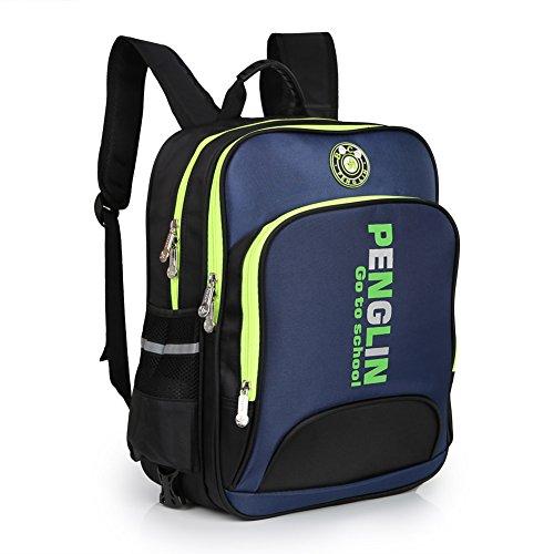 2 en 1 Sac à dos avec roulettes sac d`école à roulettes en oxford avec trois poulies pour garcons filles enfant étudiant (bleu foncé )