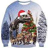 Goodstoworld Disfraz navideño Jersey Navidad Hombre Mujer Feo Fiesta Dinosaurios 3D Ropa Jolly Divertida Elfo Traje de Xmas L