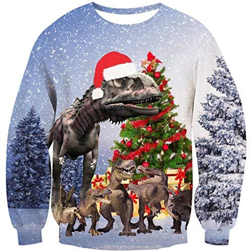 Elf Jungs Weihnachten Kostüm - Goodstoworld Ugly Xmas Pulli Herren Damen 3D Elf Weihnachtspullover Dinosaurier Pullover Weihnachten Christmas Sweater Partner L