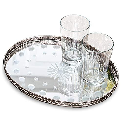 Antike Messing Natur Finish (Loberon Tablett Vieu, Messing/Spiegelglas, H/B/T ca. 3/28 / 22 cm, silber)