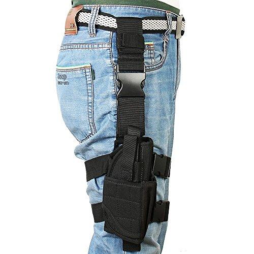 Bein Air (Kingnew Pistole Oberschenkel Tasche Einstellbare Airsoft Beinholster mit multifunktionalen Ersatzbeutel (schwarz))