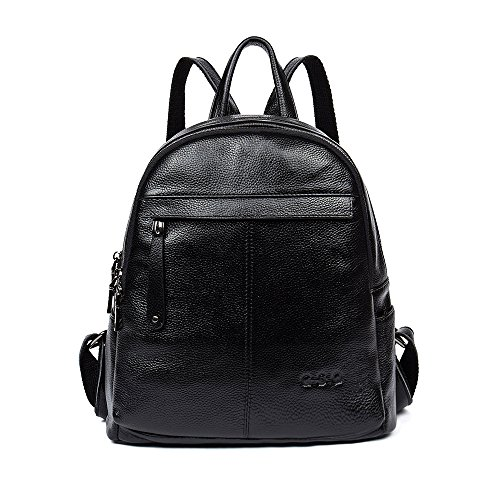 GSQ Genuine Leather backpack rucksack handbag for Women & Girls fashion rucksacks for women black patent leather backpack rucksack for women real leather rucksack(Black)