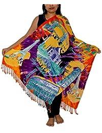 Sanvitta's Tie Dye Taj Print Viscose Satin Stole Shawl Wrap Dupatta