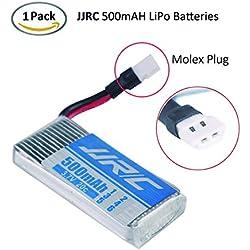 1PCS JJRC 500mAh LiPo Batería 1S 3.7V 20C with Molex Plug for JJRC H43WH , H107L H107C H107D H107P H108 , U818A , Walkera Super CP , V252 , JXD385 etc by LITEBEE