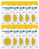 everActive 10, 60 Stück, Hörgerätebatterien, hohe Leistung, Zink-Luft-Batterien, 10 Blisterkarten, 4-jährige Haltbarkeit, gelb, Ultrasonic PR70