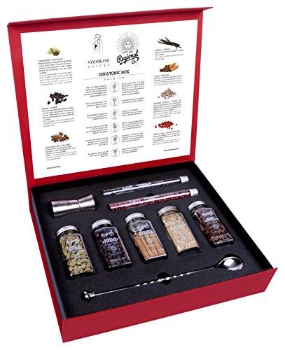 Gin & Tonic Premium Geschenkset mit Cocktail Gewürzen & Kräutern - 200 Gramm Botanicals & Spices