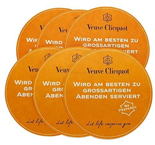 Veuve Clicquot Bierdeckel Untersetzer Bierfilz - 6er Set Champagner-set