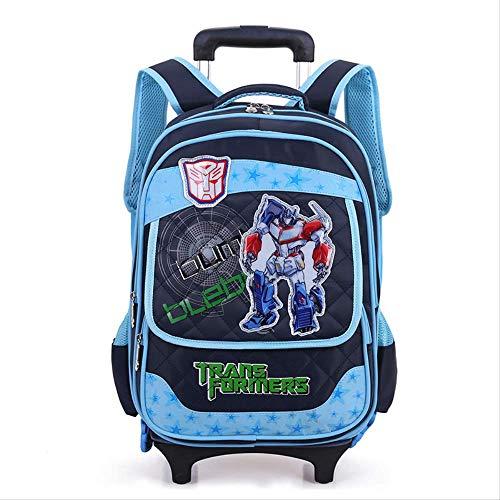 EI Runden Sechsrädrige Zwei-Schulter-Cartoon Kinder Schultasche Schüler Pull Pole Bag Mädchen Sohn Und MädchenZwei Runden Von Altem Blau ()