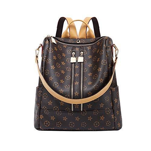 LXJSTOREEU Rucksack für Frauen, Designer-Schultertasche,modischer Rucksack, Geldbörse, Leder mit Reißverschluss (double-zipper)
