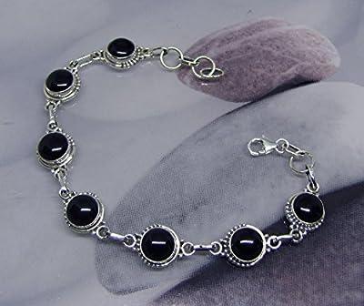 Bracelet Pierres Onyx Noires Argent
