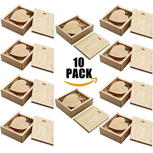 A Plus+ 10 Stück Ahorn USB Stick 16GB Holz Herz USB Flash Laufwerke Speicherstick mit Holzbox (Herz Holz-stick)