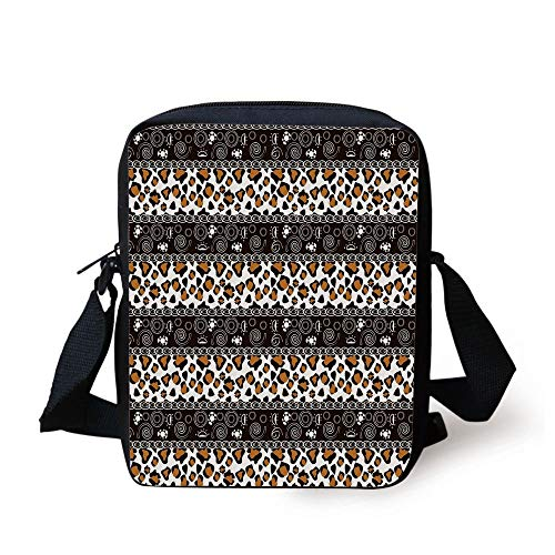 ah Pattern with Circles Spiral Exotic Fur Zoo Safari Image,Dark Brown Orange White Print Kids Crossbody Messenger Bag Purse ()
