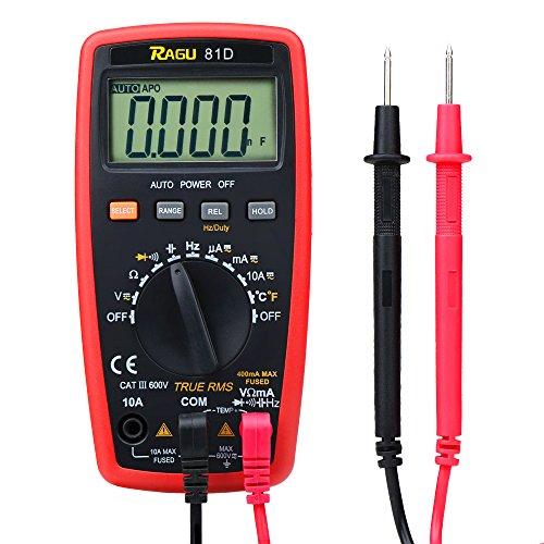 Ragu 81D Auto Digital-Vielfachmessgerät, 4000zählen AC/DC Spannung/Strom Widerstand Temperatur Diode Kontinuität Werkzeug, Elektronische Test Meter/Messgerät (Niedrig-temperatur Lcd)