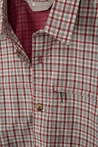 Mountain Warehouse Camicia Uomo di Cotone Vacanze Rosso