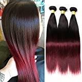Dai Weier Meche Bresilienne Naturel Cheveux Humain Vrai Ombre Human Hair Bundles Bordeaux Tissage en Lot 3 Longue Couleur 1B 99J Straight Weave 20 22 24 pouces