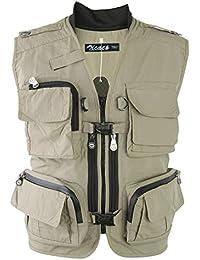 Zicac Multi-bolsillo Chaleco de Pesca y Fotografía al Aire Libre (caqui, Asia L (EU M))