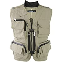 Zicac Multi-bolsillo Chaleco de Pesca y Fotografía al Aire Libre (caqui, Asia XXL (EU XL))