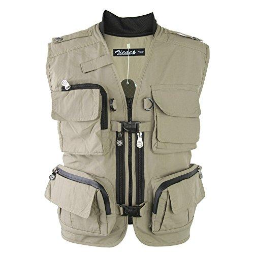 Zicac Multi-bolsillo Chaleco de Pesca y Fotografía al Aire Libre (caqui, Asia XL (EU L))