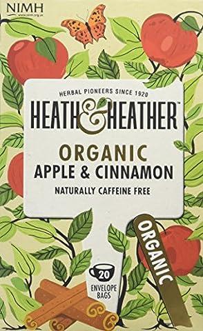 Heath & Heather Organic Apple and Cinnamon Teabags (Pack of 6, Total 120)