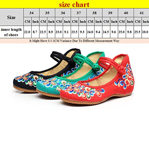 Zhhlaixing Fashion Womens Art Embroidered Cloth Shoes Classical China Style Shoes green
