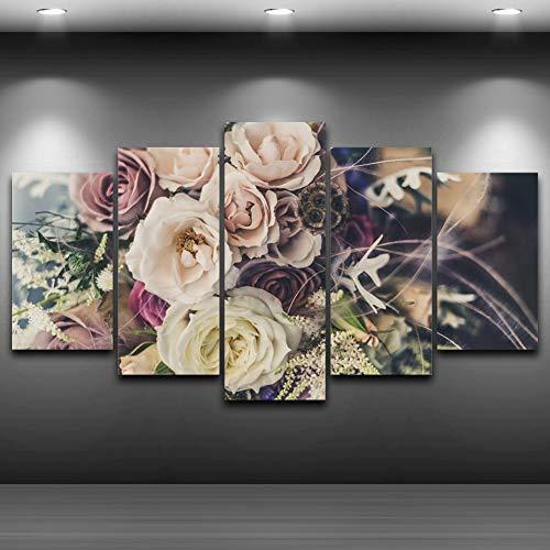 ASDZXC Leinwand Poster Wand Kunst Druckt Bilder 5 Stück Rose Blumen Künstlerische Gemälde Farbe Bouquets Für Wohnzimmer Dekor Rahmen -