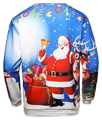 Pizoff Unisex Hip Hop Sweatshirts mit Bunt 3D Weihnachten Christmas Digital Printing Druckmuster AC017-04